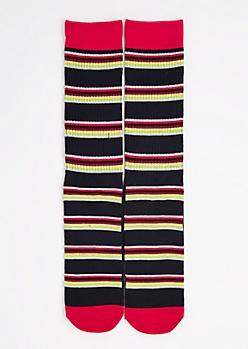 CJ Black Multi-Striped Crew Socks