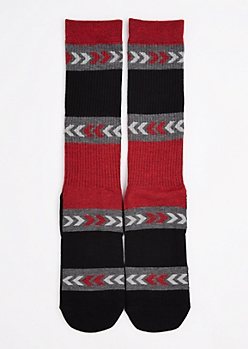 Black & Red Arrow Stripe Tall Crew Socks