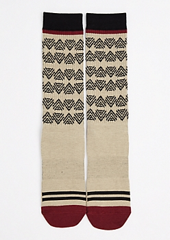 Tan Tribal Triangle Tall Crew Socks