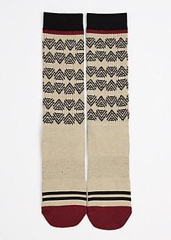 Tan Tribal Triangle Tall Crew Socks