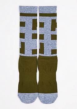 Olive Lit Tall Crew Socks