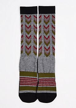 Arrow Stripe Tall Crew Socks