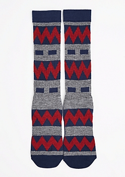 CJ Black Marled Chevron Crew Socks
