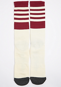 Cj Black Burgundy Striped Crew Socks