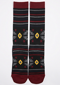 CJ Black Black Aztec Crew Socks