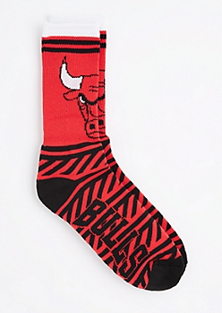 Chicago Bulls Zig Zag Crew Socks