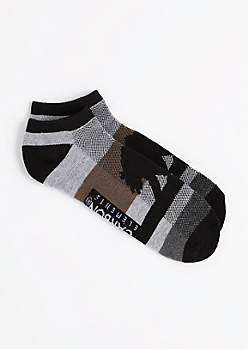 Gray Blocked Cali Bear No Show Socks