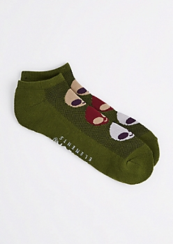 Olive Green Alien No Show Socks