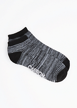 Black Marled No-Show Socks
