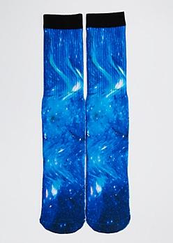 Blue Galaxy Crew Socks
