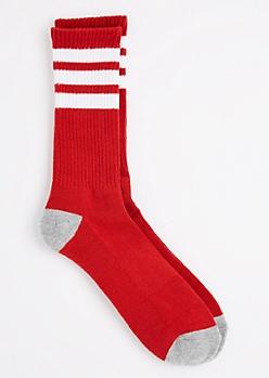 Red Triple Striped Crew Sock