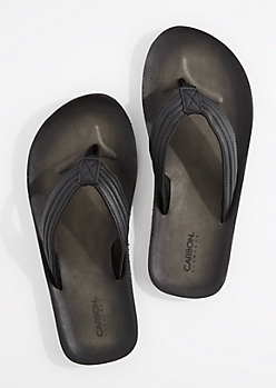 Black Faux Leather Flip Flop
