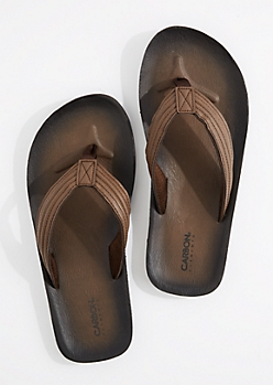 Brown Faux Leather Flip Flop