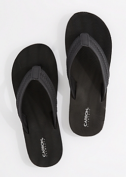 Black Faux Leather Strap Flip Flop