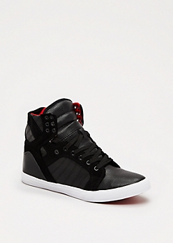 Black Faux Snakeskin High Top Sneaker