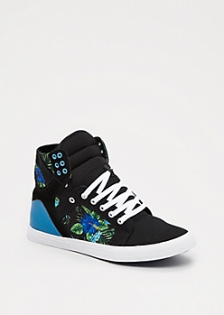 Blue Hibiscus High Top Sneaker