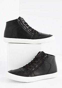 Black Zipped High Top Sneaker