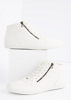 White Zipped High Top Sneaker