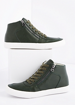 Olive Zipped High Top Sneaker