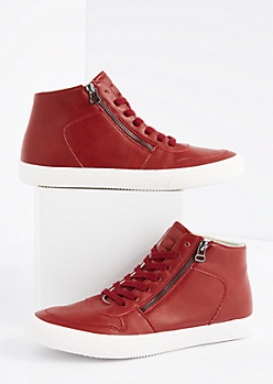 Red Zipped High Top Sneaker