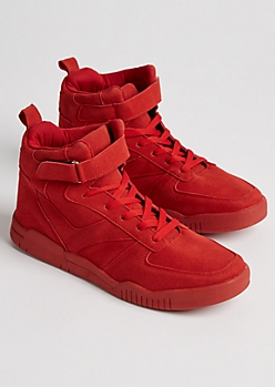 Red Strapped High Top Sneaker