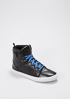 Black Quilted Collar High Top