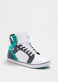 White Faux Leather High Top