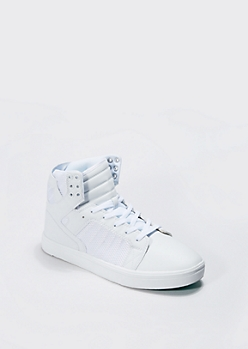 White Trapunto Quilted High Top