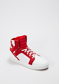 Red Trapunto High Top Sneaker