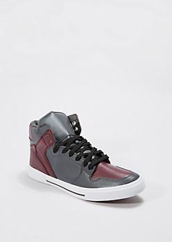 Gray & Burgundy High Top Sneaker