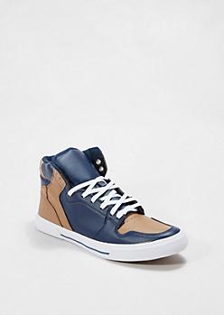Navy & Cognac High Top Sneaker