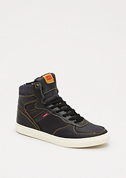 Black Denim Trim High Top Sneaker by Levi