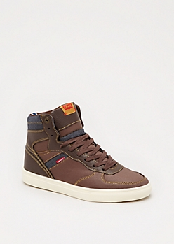 Brown Denim Trim High Top Sneaker by Levi