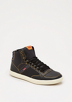 Black Washed High Top Sneaker by Levi