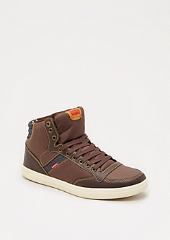 Brown Washed High Top Sneaker by Levi