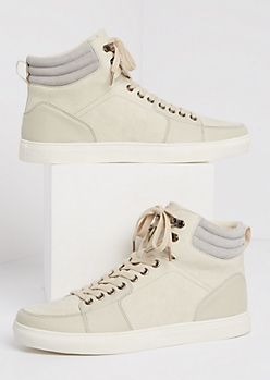 Cream Crackled High Top Sneaker