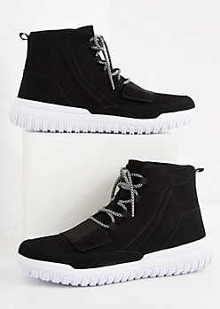 Black Strapped High Top Sneaker