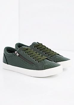 Green Woven Low Top Sneaker