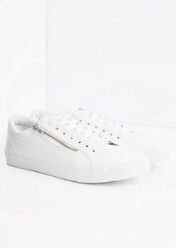 White Zipped Low Top Sneaker