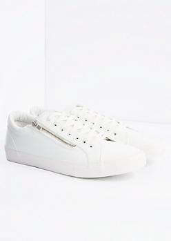 White Zipped Low Top Sneaker