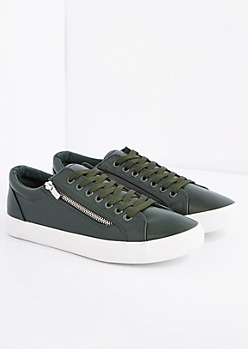 Olive Zipped Low Top Sneaker