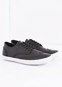 Black Vegan Leather Wingtip Sneaker