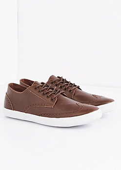 Brown Vegan Leather Wingtip Sneaker