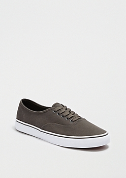 Gray Canvas Lace-Up Sneaker