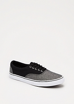 Black Chambray Blocked Sneaker