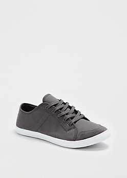 Gray Canvas Low Top Sneaker
