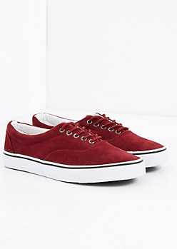 Burgundy Faux Suede Sneakers