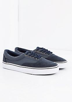 Navy Mixed Media Low Top Sneaker