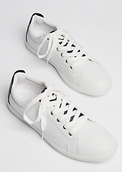 White Faux Leather Low Top Sneakers
