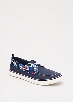 Tropical Hibiscus Canvas Boat Shoe